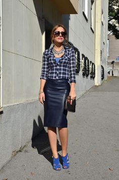 Faux Leather Pencil Skirt and Plaid Shirt Outfit / Stasha Fashion
