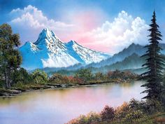 Bob Ross landscape painting in oil
