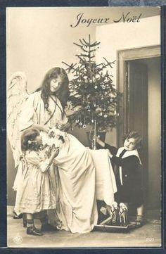 PZ082-NOEL-Xmas-GUARDIAN-ANGEL-CHILDREN-Decorated-TREE-TOYS-DOLL-PHOTO-pc-NPG