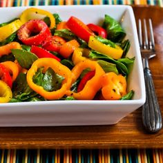 Recipe for Arugula and Sweet Mini Pepper Salad; so simple but completely delicious and healthy too! [from KalynsKitchen.com] #LowCarb #GlutenFree
