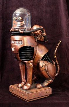Steampunk Tendencies | Brian Poor #Sculpture #Steampunk #Cat #Caturday Steampunk Robots, Steampunk Cat, Style Steampunk, Steampunk Gadgets, Victorian Steampunk, Steampunk Fashion, Armadura Steampunk, Graffiti, Chesire Cat