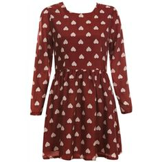 Autumn Dress - Heart Print Pleated Long Sleeve Red Dress #pariscoming your personal style online store. #outfit #stylist #Styling #streetstyle #fashionblog #fashiondiaries #fashiondiary #WearIt #WhatYouWear ✿ ❀ like it?