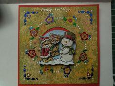 Kerstkaart eerst bewerkt met distress inkt, glimmer mist en multi medium. Daarna de hobbydots er op geplakt en als laatste een 3-d plaatje van Yvonne Creations (CD10312) er op geplakt.