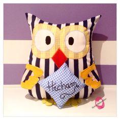 Personalised Name Cushion/Owl Cushion/Owl Pillow/Owl by YasminsMadewithLove on Etsy https://www.etsy.com/listing/235129638/personalised-name-cushionowl-cushionowl