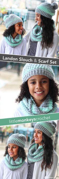 Landon Slouch Hat & Infinity Scarf Crochet Pattern Set | Free crochet slouchy hat and scarf patterns by Little Monkeys Crochet | Lion Brand Scarfie
