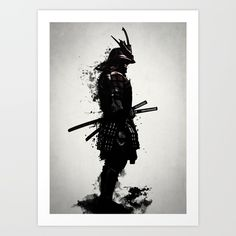 Digital illustration of an stoic samurai warrior in full armor with dark spatter and ghostly smoke emerging from his body.<br/> <br/> Created as a mix of drawings, digital illustrations and a bunch of used effects, brushes and actions in Photoshop.