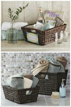 Cut clutter in your bathroom with baskets – if you're storing dry items and linens try wicker or wood. Metal or plastic work well for items that get wet such as sponges or soap and also work well underneath your sink.
