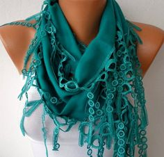 Teal Scarf    Pashmina Scarf   Headband Necklace Cowl by fatwoman, $13.50
