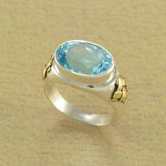 DOUBLE TONE BLUE TOPAZ RING