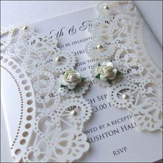 This laser cut doily style wedding invitation is available in many colours and finished with roses and pearls. Laser Cut Wedding Invitations, Wedding Stationary, Wedding Anniversary Cards, Wedding Cards, Laser Cut Invitation, Invitation Ideas, Invitation Cards, My Perfect Wedding, Wedding White