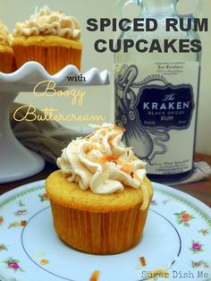 Spiced Rum Cupcakes with Boozy Buttercream icing. These were DELICIOUS. Adjusted cooking time for 25 min). Also the icing was more than enough without having to add more (although I did add an extra Tbs of rum). Rum Cupcakes, Rum Cake, Cupcake Cakes, Alcoholic Cupcakes, Cupcakes With Alcohol, Whiskey Cupcakes, Liquor Cupcakes, Margarita Cupcakes, Alcoholic Desserts