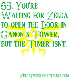 65. You're waiting for Zelda to open the door in Ganon's Tower but the Timer isn't