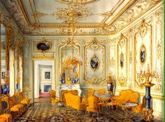 Yellow Drawing Room of the Stroganov Palace in the time of the former home of the Counts Stroganov.
