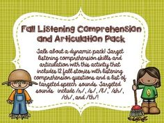 SALE!!  Talk about a dynamic pack! Target listening comprehension skills and articulation with this activity that includes 12 fall stories with listening comprehension questions and a list of targeted speech sounds. Targeted sounds include /r/, /s/, /l/, /sh/, /ch/, and /th/!