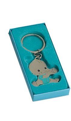Detalles y recuerdos para invitados bautizo.  Llavero metal Bebé niño con biberón. Se sirve presentado con caja de cartón de regalo a tono.