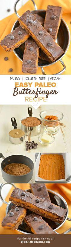 Easy, Paleo Butterfinger Recipe #justeatrealfood #paleohacks
