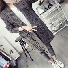 Женщины свитер длинный кардиган 2016 Повседневная Осень Зима Стиль с длинным рукавом теплые свитера женские Свитера длинные пальто