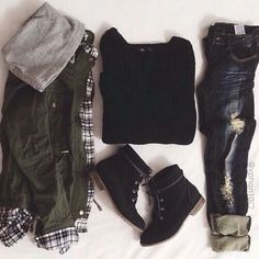 Warm Winter Outfit: black sweater, olive green hooded jacket, ripped denim jeans, and black booties