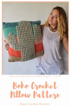 Boho Crochet Pillow~ The Prickly Cactus~ Free Pattern from Cactus and Lace Designs Boho Crochet Patterns, Crochet Pillow Patterns Free, Crochet Patterns For Beginners, Knitting Patterns, Afghan Patterns, Square Patterns, Crochet Cactus Free Pattern, Free Knitting, Crochet Ideas