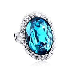 Classic Oval Shape Crystal Ring with Swarovski