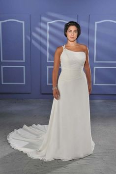 Simple Sheath One Shoulder Chapel Chiffon Plus Size Wedding Dress