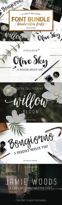 Handwritten Font bundle ~ Script Fonts ~ A gorgeous handwritten Font Bundle of my most popular fonts. Use these fonts for logo's, invites, prints and any other awesome projects you are working on! Handwritten Fonts, Calligraphy Fonts, Script Fonts, Fun Fonts, Web Design, Graphic Design, Creative Design, Design Art, Brush Font
