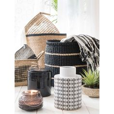 BAYADERE 2 baskets in natural-colour and black wickerwork | Maisons du Monde