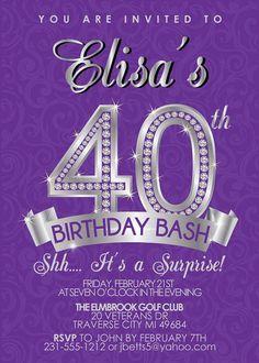 40th Birthday Invitation - Adult Birthday Party Invitation - Milestone Purple and Silver Diamond