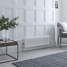 Milano Windsor - Horizontal Triple Column White Traditional Cast Iron Style Radiator - x - Suitable for creating an elegant feature in any room of your home such as in the lounge, dining roo - Horizontal Radiators, Column Radiators, Electric Radiators, Cast Iron Radiators, Solid Brick, Brick And Wood, Wooden Flooring, Concrete Floors, Windsor