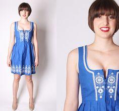 Dirndl Austrian Oktoberfest Folk Dress / Vintage Blue by aiseirigh, $128.00 - Put a blouse on!!!