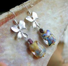 Lampwork Earrings Silver Flower Earrings Handmade by CandanImrak, $24.00