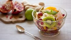 Fresh fruit salad |      Vary this easy fruit salad with whatever fruits you can find in the shops. Tropical fruits make a nice addition too such as mango, passionfruit or even persimmon or dragon fruit. Skip the syrup if you don't have time.Each serving provides 159kcal, 1.5g protein, 36g carbohydrate (of which 35g sugars), 0g fat (of which0g saturates),4g fibre and 0g salt.