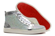 Christian Louboutin Louis Silver Jeweled High Sneakers,women christian louboutin sneakers, i like it