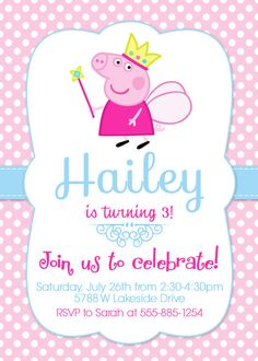 Peppa Pig Invitation Peppa Invite Peppa Pig por LovelyDivine9