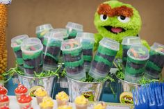oscar's dirt pudding with slimy the worm...Sesame Street 2nd Birthday Party - Kara's Party Ideas - The Place for All Things Party
