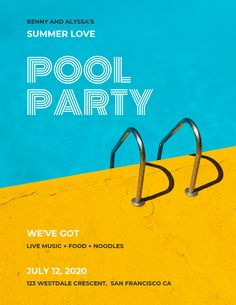 Everyone's invited to the pool party, let them know using our outstanding party flyer templates. // New Flyer Design Examples, Templates & Ideas Event Poster Template, Event Poster Design, Event Posters, Creative Poster Design, Event Flyer Templates, Poster Design Inspiration, Creative Posters, Poster Ideas, Daily Inspiration