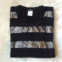 """J.Crew Black & Silver Stripe Shift Sweater Dress Beautiful sweater dress with 3/4 sleeve. Perfect for pairing with leggings or tights. Can be worn alone or with a waist belt. Absolutely to die for. Worn 2x.  38"""" chest, 36"""" length. No trades, no PayPal. 10% off bundles. J. Crew Dresses Long Sleeve"""