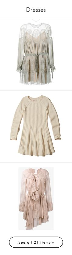 """Dresses"" by jessicacmorgado on Polyvore featuring dresses, heart dress, gray dress, crochet dress, long sleeve dress, checkered dress, dresses., cream, crew neck sweater dress and cream dress"