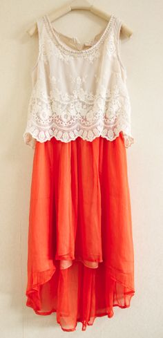 Lace coral dress -  inspiration ...lace top over coral dress