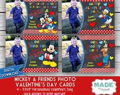 Digital Photo MICKEY MOUSE & Friends VALENTINE'S Day Cards, Kids Valentines Day Cards, Kids Valentines, Donald, Goofy