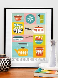 kitchen art print Cathrineholm  poster mid century modern by handz, $21.00