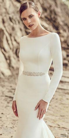 Mikaella spring 2017 bridal long sleeves bateau neckline simple clean design elegant fit and flare wedding dress open low back long train (2105) zv #wedding #bridal #weddingdress