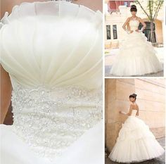 Princess Strapless Embroidered Lace Ball Gown Wedding Dress