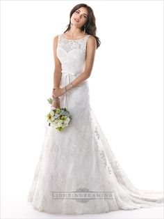 Romantic Illusion Bateau Neckline A-line Lace V-back Wedding Dress