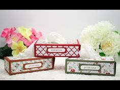 x Series: Punch-Out Mini Milk Carton Tissue Box Covers, Tissue Boxes, Tissue Holders, Craft Box, Craft Sale, Hannelore Drews, Stampin Up, Punch, Kleenex Box