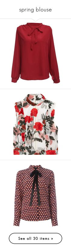 """""""spring blouse"""" by israa-hosni ❤ liked on Polyvore featuring tops, blouses, shirt blouse, red v neck shirt, long sleeve v neck shirt, red long sleeve shirt, long sleeve v neck blouse, shirts, blusas and embroidered blouse"""