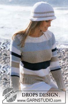 Stribet DROPS bluse i Ice og hæklet hat i Paris Gratis opskrifter fra DROPS Design.
