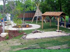 small outdoor playspace for daycare | interesting teepee idea because it preserves sight and sound ...