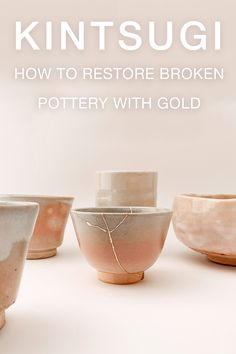 """Kintsugi literally means """"fixing with gold"""" and it is an ancient technique born in Japan centuries ago. The Kintsugi method, followed by RealKintsugi, reflects the antique genuine technique. It's a long process where time is one of the ingredients as important as other materials. The method follows a total of 4 steps, and each one requires different materials and skills. Read the full method description on RealKintsugi. Kintsugi, Japanese Pottery, Decorative Bowls, Restoration, Im Not Perfect, Antique, Gold, Beauty, Japanese Ceramics"""