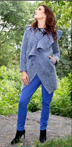 Genevive ruffle coat over the George harem pants. Great Cuts, Fall Winter, Autumn, Poncho Tops, Work Looks, Blue Grey, Skyscraper, Harem Pants, Street Wear